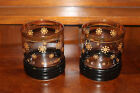 Mid Century Modern Low Ball Snowflake Black and Gold Ribbed Glassware Tumblers