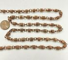 3 FEET VINTAGE COPPER COATED STEEL GROOVED WRAPPED OVAL FANCY LINK CHAIN M300