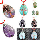 Silver  Rose Gold Plated Wire Wrap Tree of Life Natural Gemstone Reiki Pendant