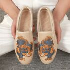 Chinese Style Retro Mens Flower Printed Summer Breathabe Slip On Sneakers Shoes
