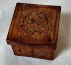 Antique Carved Inlay Wood Small Pill Box Jewelry Trinket Hinged Lid VTG 2