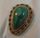 VINTAGE SILVER OPEN WORK P ENDANT / BROOCH W,  NATURAL GREEN STONE  SIZE 2""