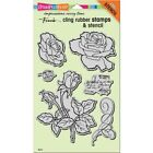 Cling Rose Garden Rubber Stamp  Stencil by Stampendous CRS5101 NEW