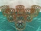 1960's Mid Century Vintage Culver Gold Old Fashion Glasses Tumblers Set of 6