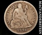 1891 SEATED LIBERTY DIME-SCARCE BETTER DATE!! #A4081