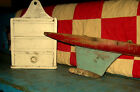 CHARMING WOODEN POND MODEL AWESOME OLD BLUE,RED PAINT AAFA NR