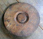 Antique 19th Century Carved Wood Stoneware Crock Lid No Reserve