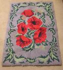 Vtg Hooked Rug Bright Red Poppies Green Leaves Burlap Backing