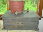 EXTRAORDINARY APOTHECARY CHEST BEST OLD BLUE PAINT BEST FORM, DETAIL AAFA NR