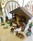 Antique 17 Piece Nativity Set with Manger Made in Germany Christmas Decor