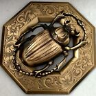""""""" INCH EGYPTIAN SCARAB BUTTON~STAMPED BRASS~Antique"""