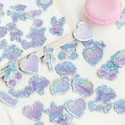100x Holographic Glitter Heart Diary Gift Bag Stickers Crafts Scrapbooking Label