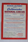 ALTES REKLAME BLATT STUTTGART CALIFORNISCHER NATIONAL CIRKUS BUSCH ALTHOFF 1967