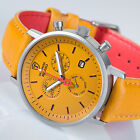 DETOMASO MILANO Mens Wrist Watch Chronograph Stainless Steel Yellow Leather New