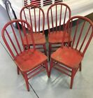 4 Rare 19th Century Bow back Child's Windsor Chairs Original Red Paint Antique