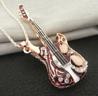 Rose Gold Plated Red Blue Enamel Crystal Music Guitar Pendant Sweater Necklace