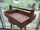 large VINTAGE farmhouse WOODEN flower tray TOOL CADDY CARRIER Tote BOX OLD 22