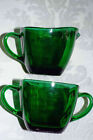 Vintage Anchor Hocking Fire King Emerald Green Kitchen Square Sugar Creamer Set