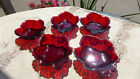 5 VINTAGE ANCHOR HOCKING FIRE KING RUBY RED MAPLE LEAF CANDY SALAD DISHES BOWLS
