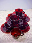 Ruby Red Tea Coffee Cups and Saucers Plus 1 Cup Circa 1960s Lot of 6 Vintage