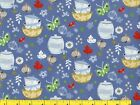 Kitchen Bowls Butterflies Flowers Leaves on Blue Quilting Fabric by Yard 549
