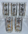 5 Vintage Hard to Find LIBBEY Telephone GOLD trim Highball Glasses Tumblers MCM