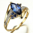 Elegant Size 8 Women Blue Sapphire Gold Filled Engagement Wedding Rings Jewellry