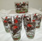 6 Barware Glasses Fox Hunt Equestrian