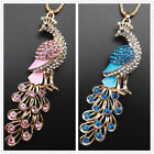 Gold Plated Pink Blue Enamel Crystal Peacock Pendant Sweater Necklace