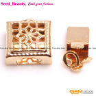 5 PCS Filigree Yellow Gold Plated Box Clasps 9x9mm Jeewlry Making Findings 0.35""
