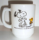 FIRE KING Vintage 1958 1965 SNOOPY Milk Glass Mug AT TIMES LIFE IS PURE JOY!