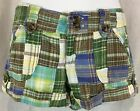 Grand Jeans 5 Patchwork Plaid Shorts Hot Mini Cuffed Green Brown Blue VTG 90s