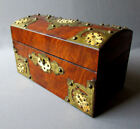 ANTIQUE 19th Century VICTORIAN ERA Brass Banded Burl Wood TEA CADDY circa 1880