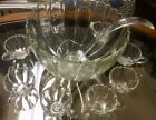 Vintage Hazelware The Edgewood Crystal Punch Bowl Set with 8 Cups Asst. 6332