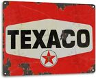 Texaco Red Rust Oil Gas Station Car Service Auto Shop Garage Rustic Metal Sign