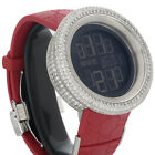 Mens Custom Full Case Digital Red I-Gucci Ya114212 Genuine Diamond Watch 9 CT.