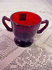 Vintage Ruby Red Footed Sugar Bowl with Handles Star Shape on Bottom 3 1/4 Inch