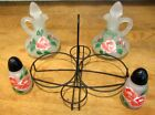 Vtg Hazel Atlas Cruet Set; Vinegar~Oil~Salt~Pepper in Metal Holder Cape Cod Mass