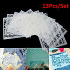 13pcs set Embossing Template Scrapbooking Walls Painting Layering Stencils DIY