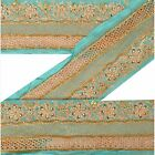 Vintage Sari Border Antique Hand Beaded 1 YD Indian Trim Sewing Sea Green Lace
