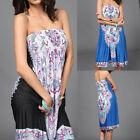 New Women's Strapless Tube Top Dress Summer Beach Boho Short Mini Sundress US