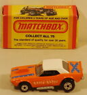 DTE LESNEY MATCHBOX SUPERFAST 1 E BLACK INTERIOR ORANGE WH ROOF DODGE CHALLENGER