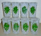 Vintage Culver Libbey White NEEDLEPOINT Green ROSES highball drinking glasses