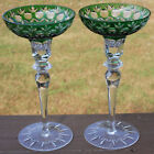 2 Czech Cut to Clear GREEN CHRISTMAS Candle Stick Holders CANDLEHOLDERS Pair 8