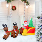 7 Inflatable Christmas Santa Claus  Reindeer Lighted Airblown Yard Decorations