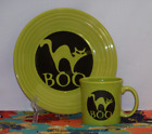 Fiesta® 2 Pc Set - BOO CAT on Lemongrass Luncheon Plate & Java Mug - 1st Quality