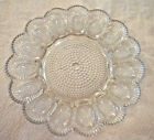 Indiana Glass Deviled Egg Relish Plate Clear Hobnail 15 Slots 11