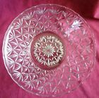 Vintage Pressed Glass Serving Bowl in Star/Thousand Line Type Pattern
