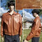 vintage 70s WILLIAM BARRY LEATHER BOMBER JACKET shearling lined aviator mens MD