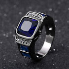 Fashion Jewelrry Size 7-13 Mens Black Gold Filled Blue Sapphire Engagemet Rings